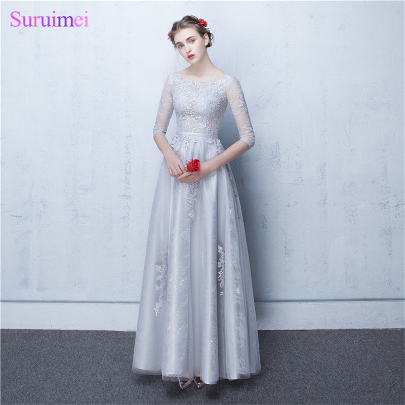Dubai   Bridesmaid     Dresses   Vestidos De Noite Longos Silver Appliques A Line Long Brides Maid   Dresses   with Sleeves