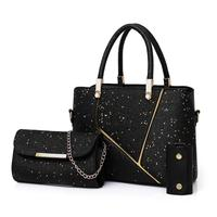 3 pc handbag Bling Crossbody purse Key Bag Shoulder Bags Messenger bags for women 2019 3Pcs Women Fashion leather bolso mujer#S