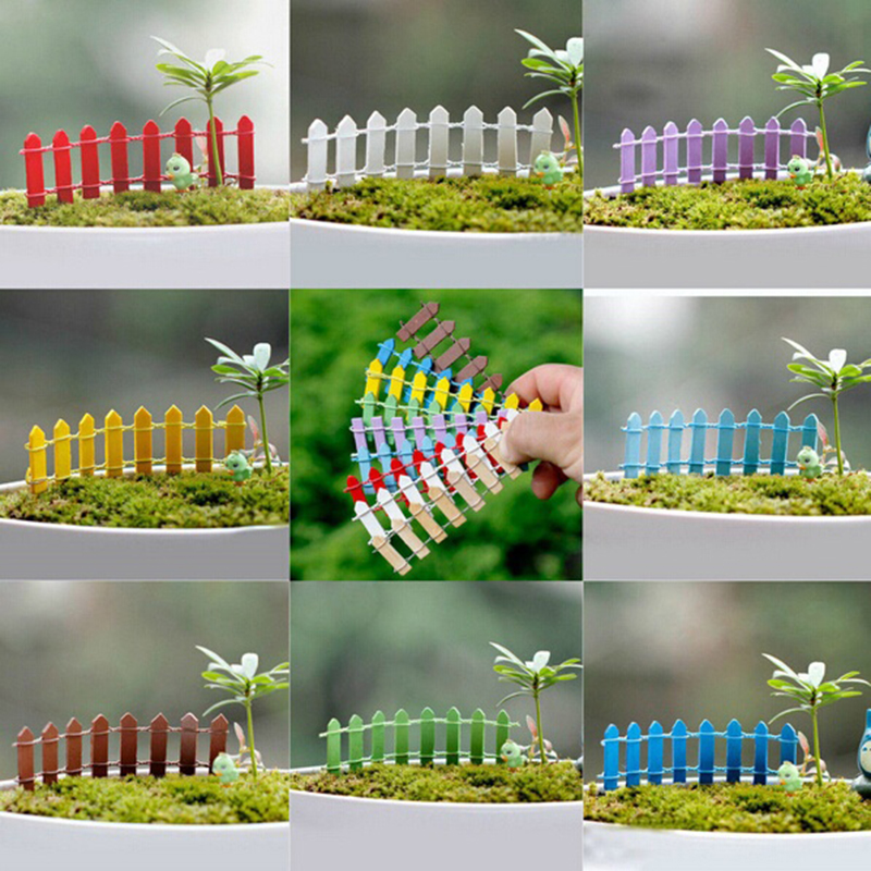 1 Pc Beautiful Wooden Fence Garden Ornament Accessory Mini Craft Micro Landscape Garden DIY Miniature Bonsai Garden Ornament