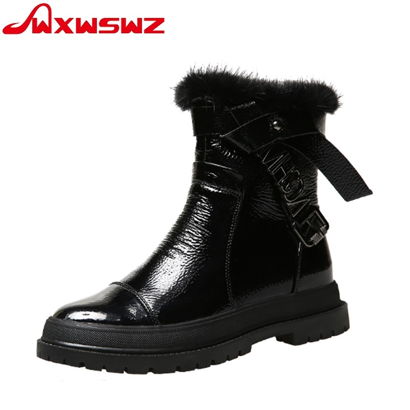 724e21e6c Mujer Zapatos Wxwswz Marca Botas Cuero Negro Piel Mujeres Encaje Invierno  Nueva Tobillo Caliente Para Martin De Genuino ...