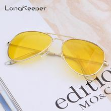 LongKeeper Pilot Night Vision Yellow Sunglasses Men Women Goggles Glasses UV400 Sun Driver Driving Eyewear
