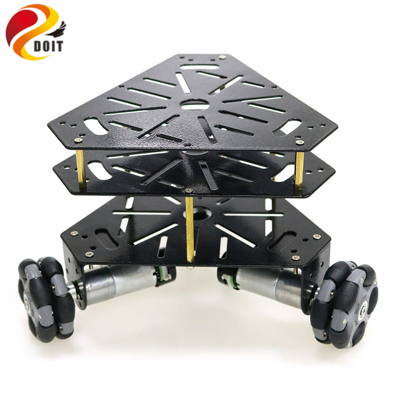 3WD Omni Wheels Robot Car Chassis Stain Steel Frame with 3pcs DC 9V motor for DIY Toy Car Owi Robot Competition3WD Omni Wheels Robot Car Chassis Stain Steel Frame with 3pcs DC 9V motor for DIY Toy Car Owi Robot Competition