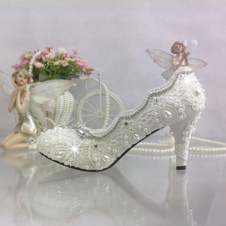 ФОТО White lace handmade wedding shoes princess up heel flower  bridal wedding shoes shallow mouth ladies pump rhinestone chain