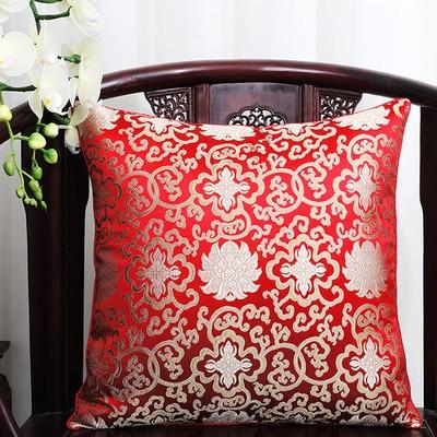 Чехол для подушки для автомобильного стула с цветами 40x40 см 45x45 см 50*50 60*60 китайские красочные диванные Декоративные Чехлы для подушек, шелковая атласная наволочка - Цвет: Красный