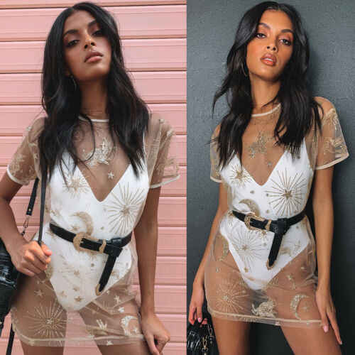 2019 Brand New Womens Gold Pailletten Transparante Korte Mouw Mini Strand Jurk Dames Bikini Cover Up Zomer Mesh Jurk
