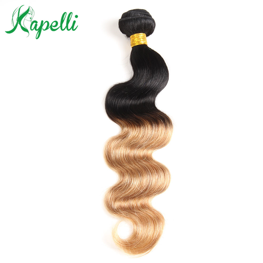T1B 27 4 99J Brown Burgundy Dark Root Honey Blonde Ombre Body Wave NonRemy Human Hair Extensions Brazilian Hair Weave Bundle 1pc