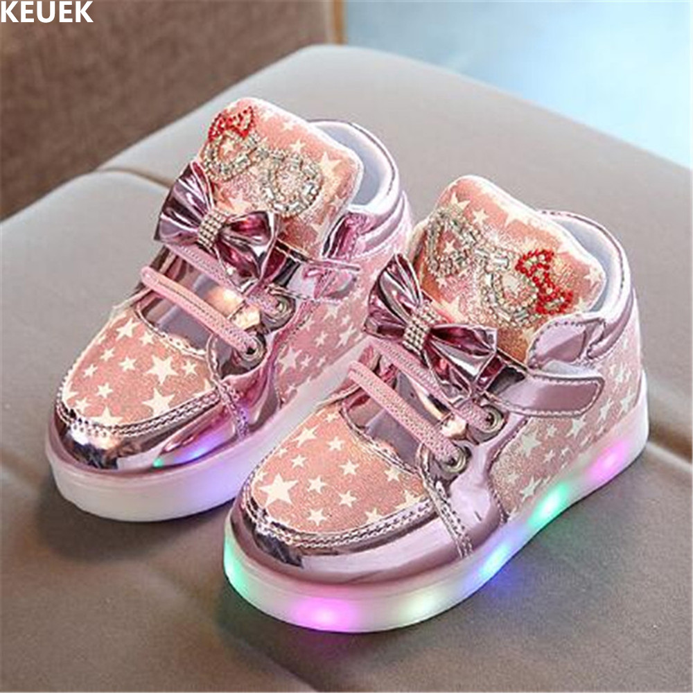 New Glowing Sneakers Children Light Shoes Girls Luminous Casual Spring/Autumn Lighted Baby Toddler Kids Flat Sports Shoes 018