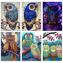 Fezrgea Diamond Embroidery Animal Owl 5D DIY Full Square Painting Cross Stitch Mosaic Home Picture Decor