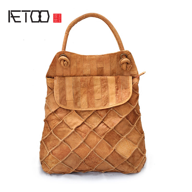 AETOO Europe and the United States leisure personality leather handbags pure leather head layer of leather shoulder shoulder sho europe and the united states simple geometric pattern hand bag head layer of leather in the long wallet multi card large capacit