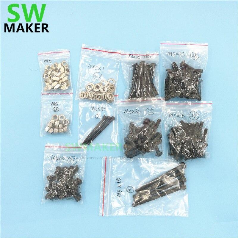 OX CNC milling router machine DIY accessory parts Mechanical fasten screw washer nut full Kit M5 Tee nut/nylon lock nut set