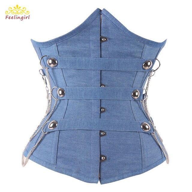 12 Steel Boned Blue Denim Corset Gothic Underbust S M L XL 2XL Waist Corsets Sexy Corselet Top Women Clothing E
