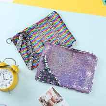 купить New Fashion Sequin Cosmetic Bag Makeup Zipper Beauty Bag Two-Color Flip Portable Clutch Zipper Make Up Functional Bag по цене 308.07 рублей