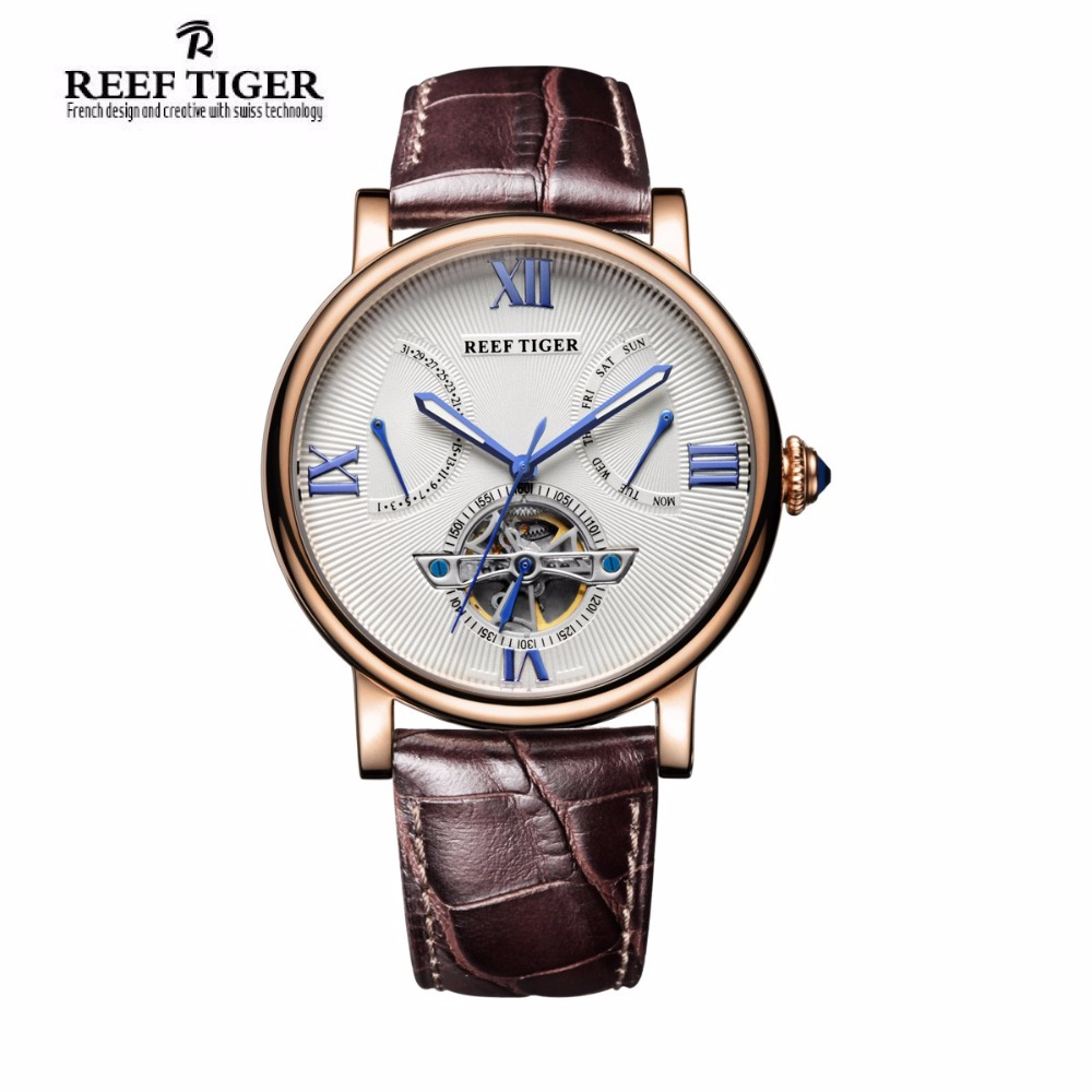 Reef Tiger Men's luxury Watch Fashion Casual Tourbillon Clock Men's Gold leather Automatic Mechanical Watches relogio masculino