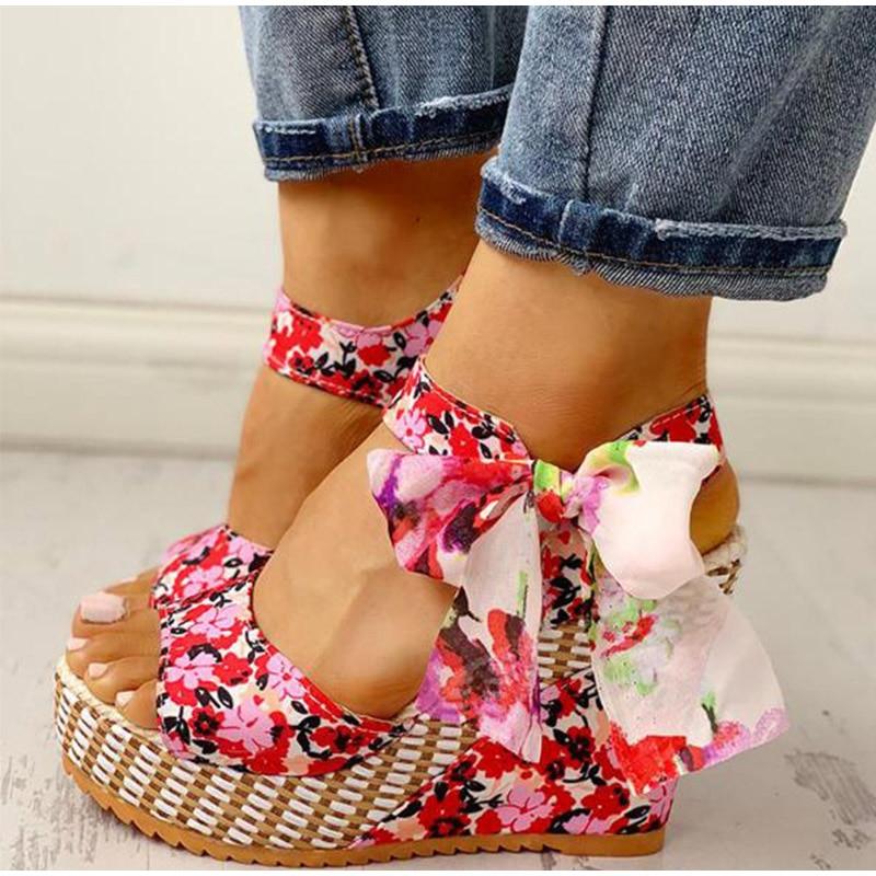 HTB10CdOXQ5E3KVjSZFCq6zuzXXat Women Summer Wedge Sandals Female Floral Bowknot Platform Bohemia High Heel Sandals Fashion Ankle Strap Open Toe Ladies Shoes
