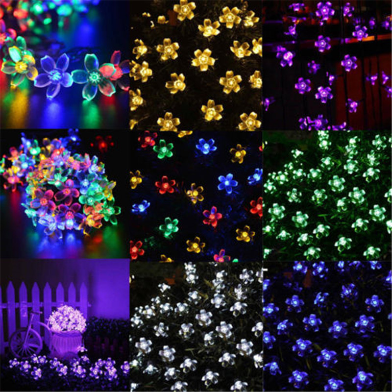 New Multi 10M 100 LED Cherry Blossoms Peach Flower String Fairy Christmas Light, Battery Operated 2/3/4m Sakura Star Garland