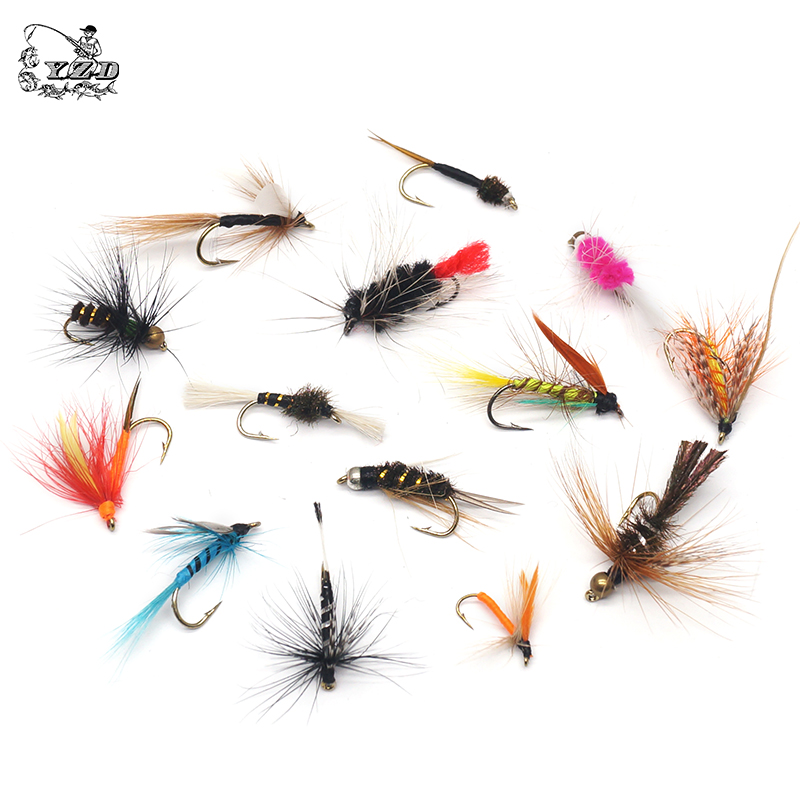5pcs Fly Fishing Flies Lure Set Dry Wet Fly Lures Kit for Bass Salmon Trouts