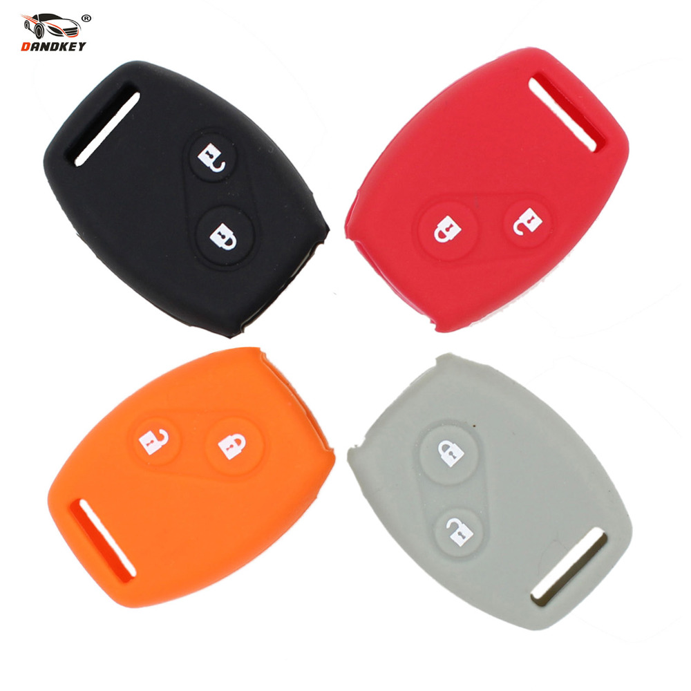 DANDKEY Sport Style Silicone Car Key Case Cover For Honda CIVIC JAZZ Pilot Accord CR-V Car Styling Fob 2 Buttons
