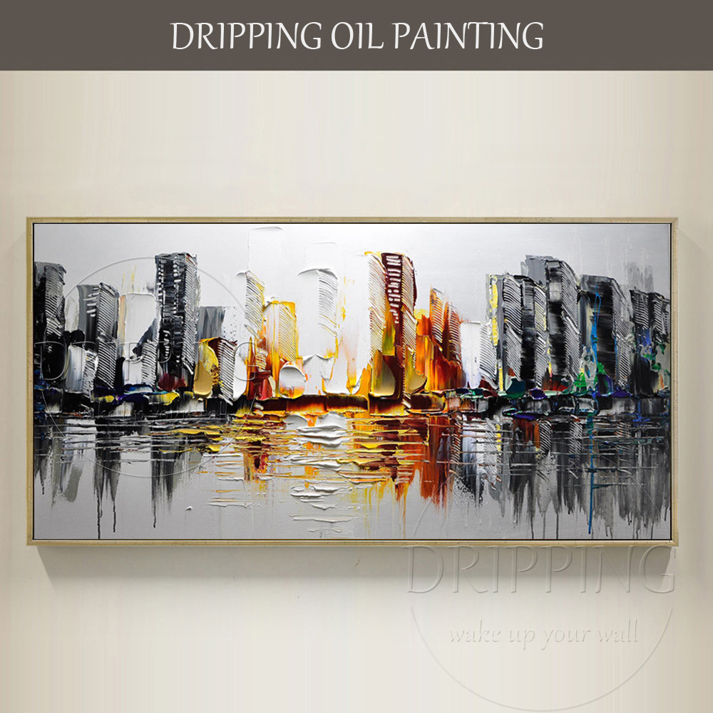 Artist Hand painted High Quality Modern Landscape City Oil Painting on Canvas Modern Wall Canvas Art City Picture Oil Painting