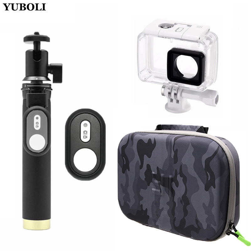 Bluetooth Remote Control 3in1 kit Waterproof Case Self Stick Camera Bag for Xiaomi Yi 4K xiaoyi
