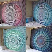 148X200CM Hippie Mandala Tapestry Wall Hanging Indian Bohemian Psychedelic Tapestry Wall Fabric Boho Decor Wall Carpet Mattress