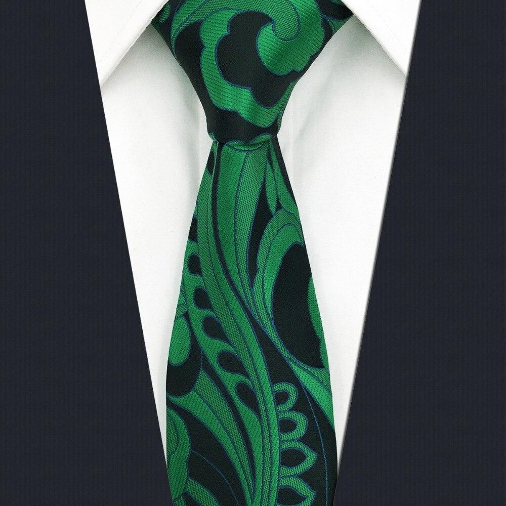 B23 Green Abstract Silk Mens Skinny Necktie Wedding Fashion Slim Ties for male Classic Groom