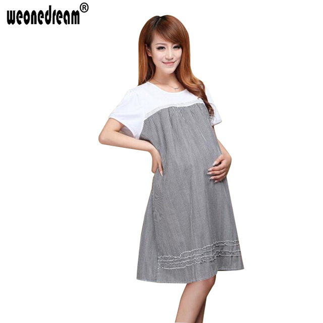 Weonedream Plaid Cotton Clothing Maternity Dresses Clothes Pregnancy For Pregnant Women Office Summer Dress Plus
