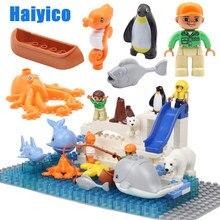 Grandes blocos de construção original oceano, peixe polar pinguim, urso, acessórios compatíveis com duplo, tijolos, diy, brinquedos para crianças