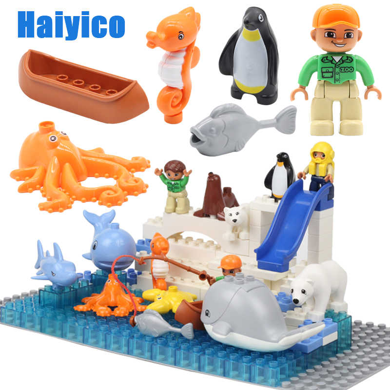Duże klocki do budowania oryginalne zwierzę oceaniczne pingwin ryby niedźwiedź polarny akcesoria kompatybilne z Duplo cegły DIY zabawki dla dzieci