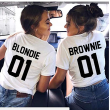 Casual Letter Printed Best Friend T-Shirt BFF Sister Women Girls Lovers Couples Tee Shirt Femme Cotton Tops brownie blondie 01