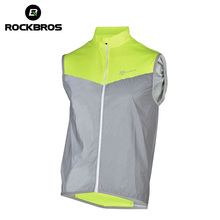 цена на ROCKBROS Reflective Cycling Jersey Sleeveless Men Sportswear Bicycle Vest Windproof Safety Fluorescence Bike Breathable Jersey