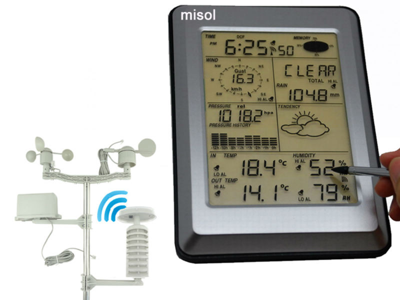 Pro Wireless Weather Station w/ PC interface, Touch Panel w/ Solar sensor 4 20ma 0 5v 0 10v wind direction sensor anemometer small weather station parts from factory
