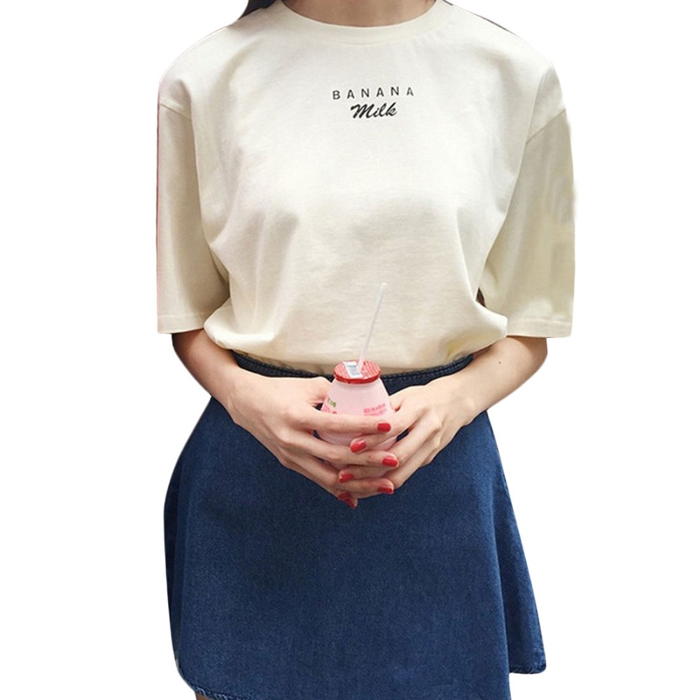 2017 Summer Kawaii T shirts Banana Milk Letters Printed Women Shirts Short Sleeve Casual Tees Pink /beige poleras de mujer