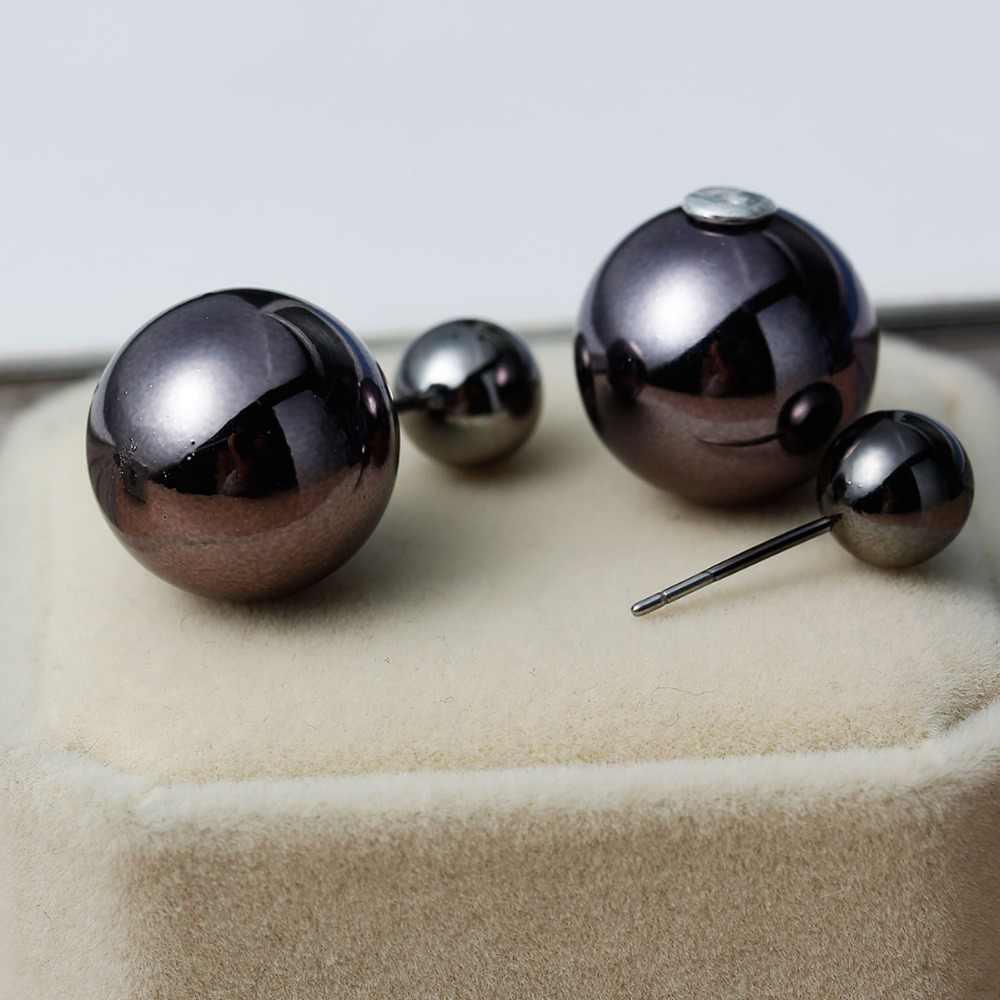 Doreenbeads 2017 moda redonda acrílico parafuso prisioneiro brincos pós orelha dupla imitação pérolas preto para mulher jóias 8mm 16mm 1 par
