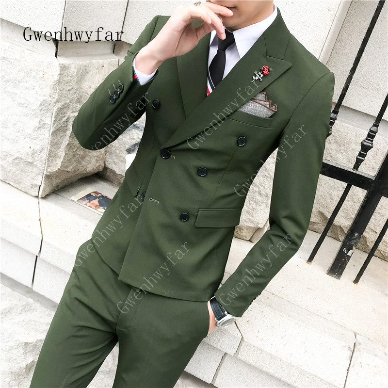 Men Suits With Pants 2019 Korean Tuxedo Slim Green Formal Groom Wedding/Prom/Party Suits Double Breasted Best Man Blazer