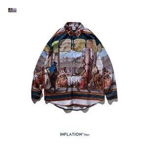 Image 5 - INFLATION Mens Digital Printing Shirt Men Harajuku Hip Hop Shirt Long Sleeve Streetwear Shirts Oversized Men Brand Shirt  92143W