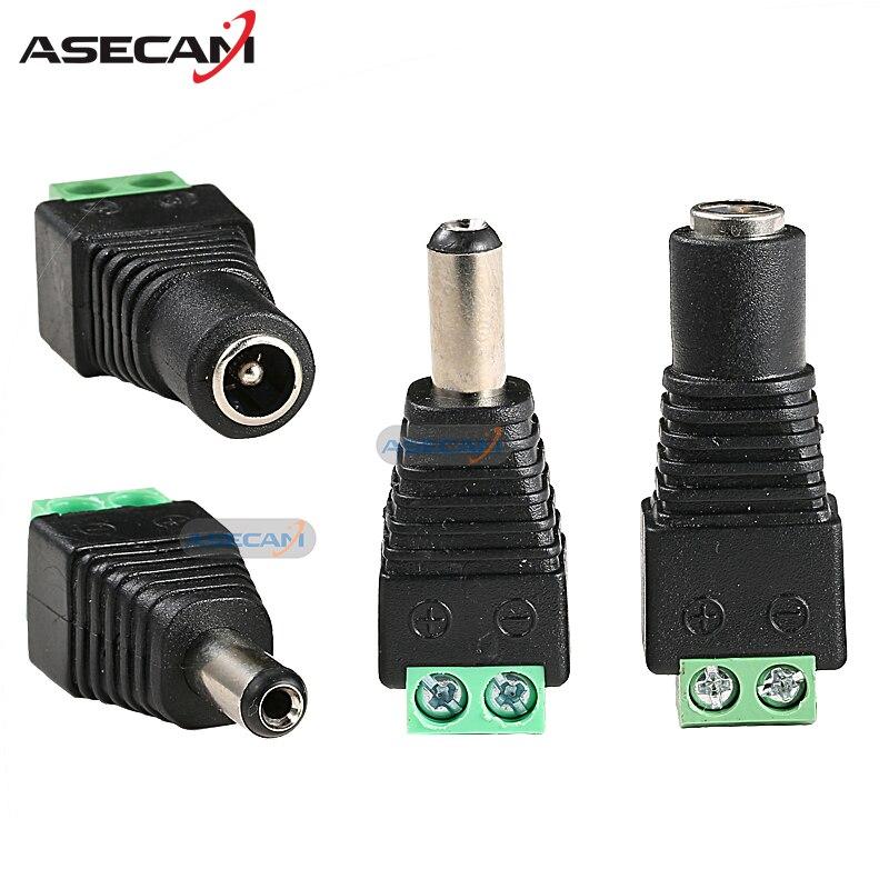 цена на 20PCS 12V 2.1*5.5mm DC Power Male Plug Jack Adapter Connector Plug Female Plug for CCTV Security Camera Accessories LED Light