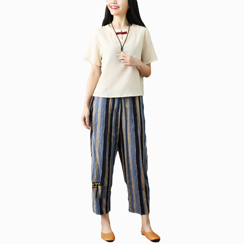 National wind striped cotton and linen nine pants women 2019 new literary large size female pants loose high waist harem pants 5