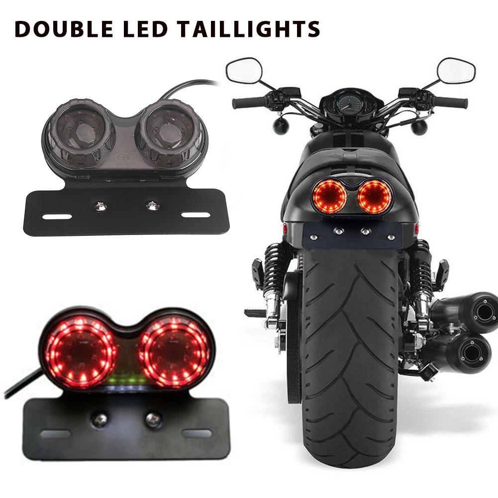 Universal Motorcycle Dual LED Tail Light Smoked Lens Plastic Integrated Light Turn Signal Brake Light Rear Driving Lamp