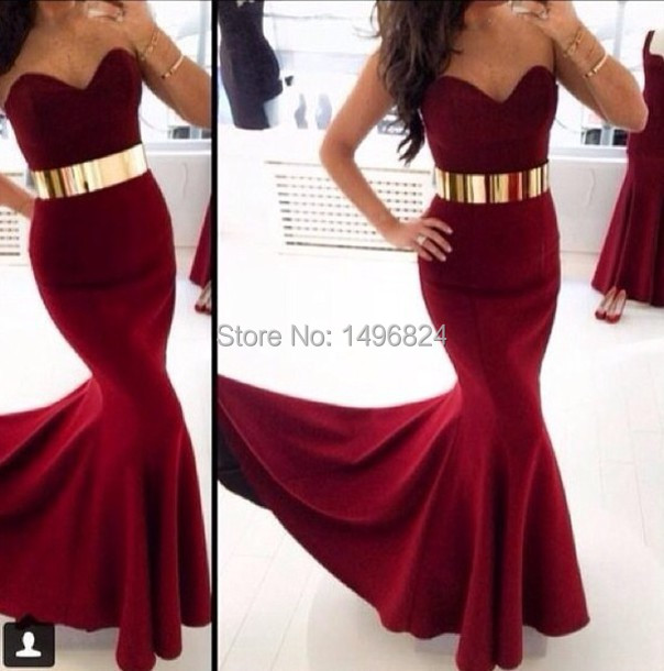 2014 Best Selling Custom Made Wine Red Sexy Backless Long Mermaid ...