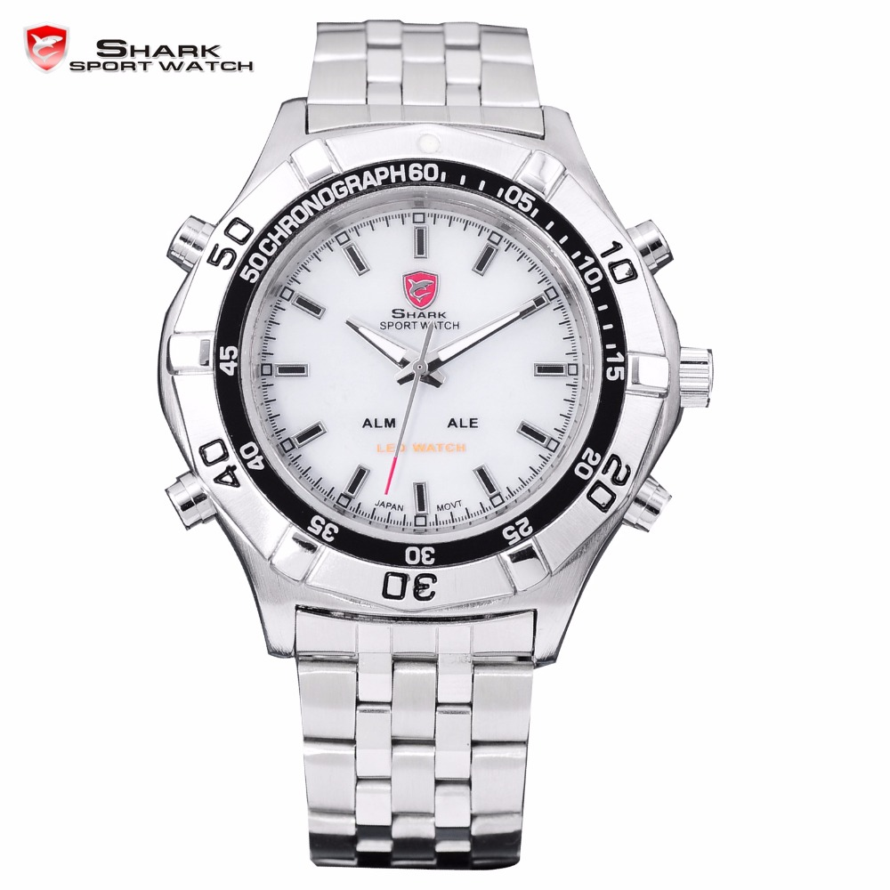 Mako SHARK Sport Watch Brand White Digital LED Dual Time Date Alarm Silver Stainless Steel Strap Men Wrist Quartz Watches /SH038 top brand luxury digital led analog date alarm stainless steel white dial wrist shark sport watch quartz men for gift sh004