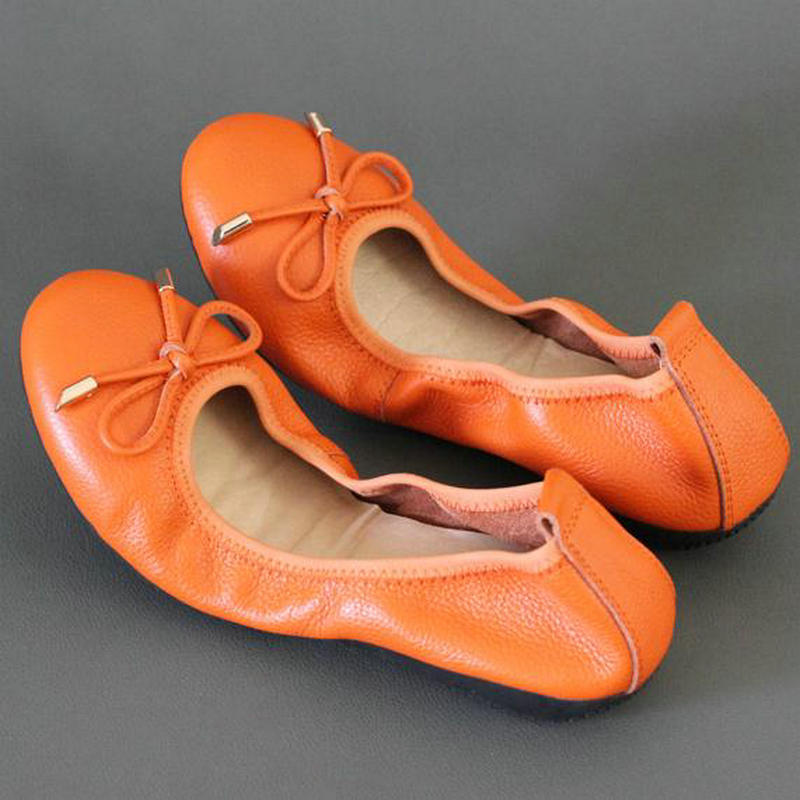 High Quality Genuine Leather Shallow Mouth Super Soft Bow Ballet Dance Flats Metal Buckle Foldable Travel