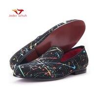 Новый ручной ГРАФФИТИ МУЖЧИН праздничная и Свадебная обувь модные Лоферы без шнуровки мужская повседневная обувь Британский Стиль слиппер