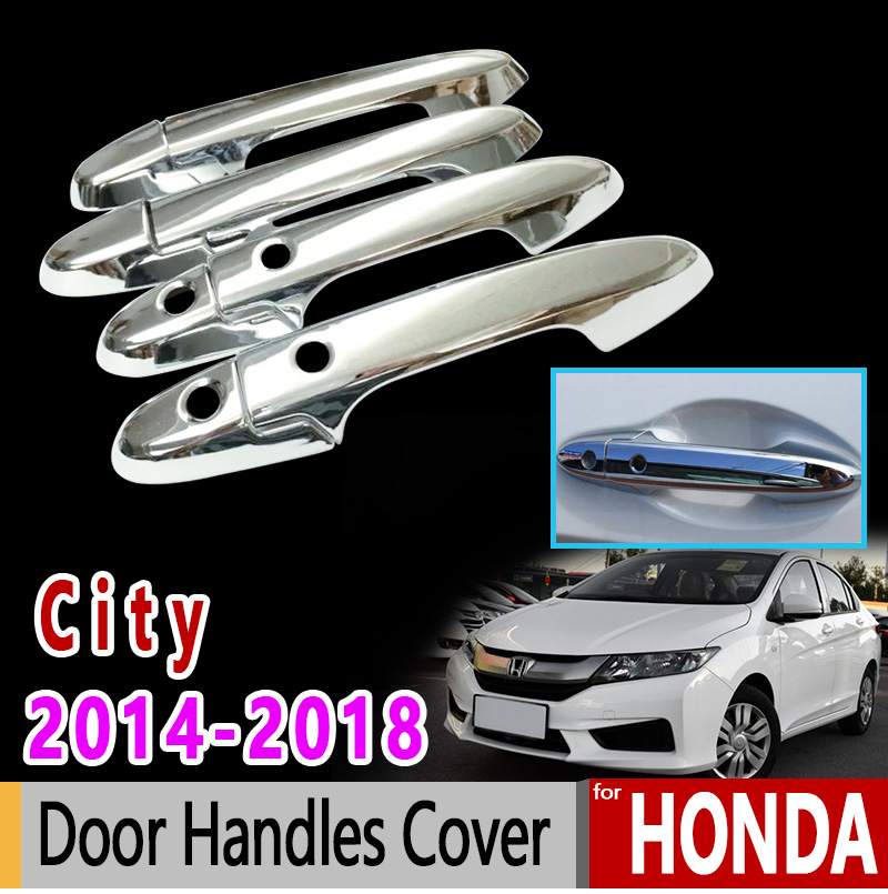Fit For Honda City 2014-2016 Chrome Smart Key Hole Door Handle Cover Trim 8pcs