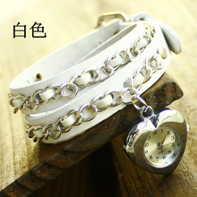 Scorching Sale Prime quality coronary heart pendant Real Cow leather-based watch girls girls vogue costume quartz wrist watch Kow009