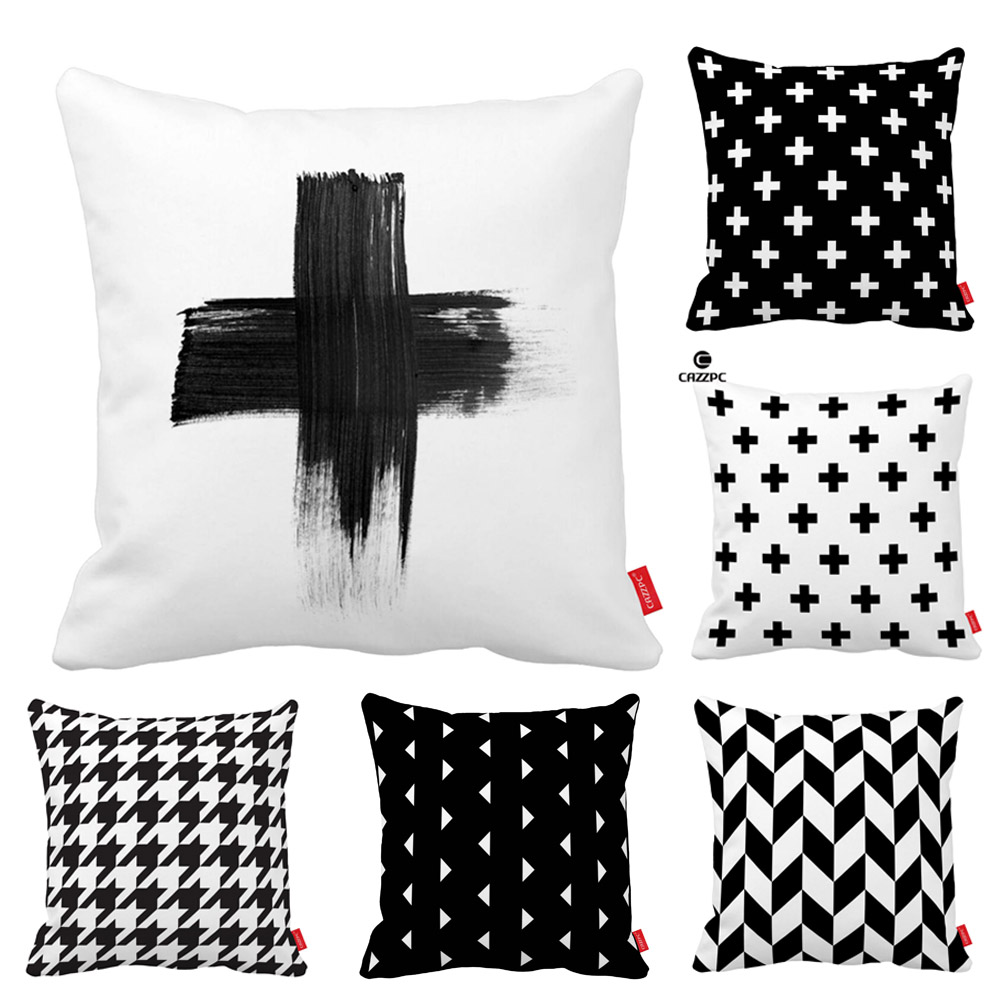 Vinatge Geometry Houndstooth Gird Cross Print Car Decorative Throw Pillowcase Pillow Case Cushion Cover Sofa Home Decor