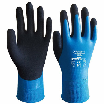 Wonder Grip Gloves Latex Waterproof Fully Coated Gloves Nylon Blue Work Gloves Coldproof Protection Gardening Gloves nmsafety better grip ultra thin knit latex dip nylon red latex coated work gloves luvas