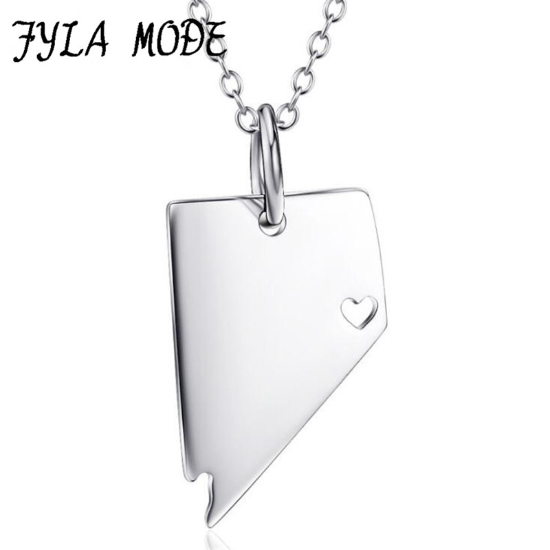 Fyla Mode Nevada State Necklace S925 Silver State Necklace NV State Necklace Personalized Map Necklaces Jewelry With A Heart YFN