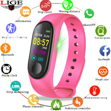 LIGE New Bluetooth Wristband Sports Smart Bracelet fitness Watch ip67 Waterproof Heart Rate Monitoring Fitness