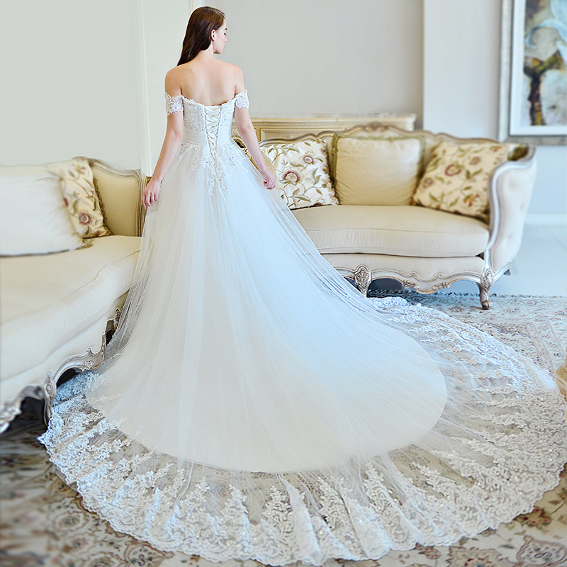 Mzyw0106 Off Shoulder Sweetheart Neckline Lace Wedding Dresses Long Train Ing Dress From China In Weddings Events On