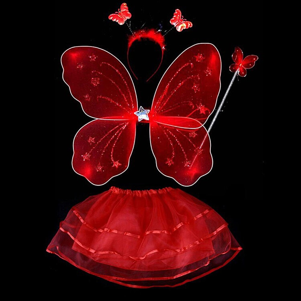 17 4 Pcs Baby Child Kids Butterfly Wings Wand Headband Tutu Skirt Halloween Costume 4